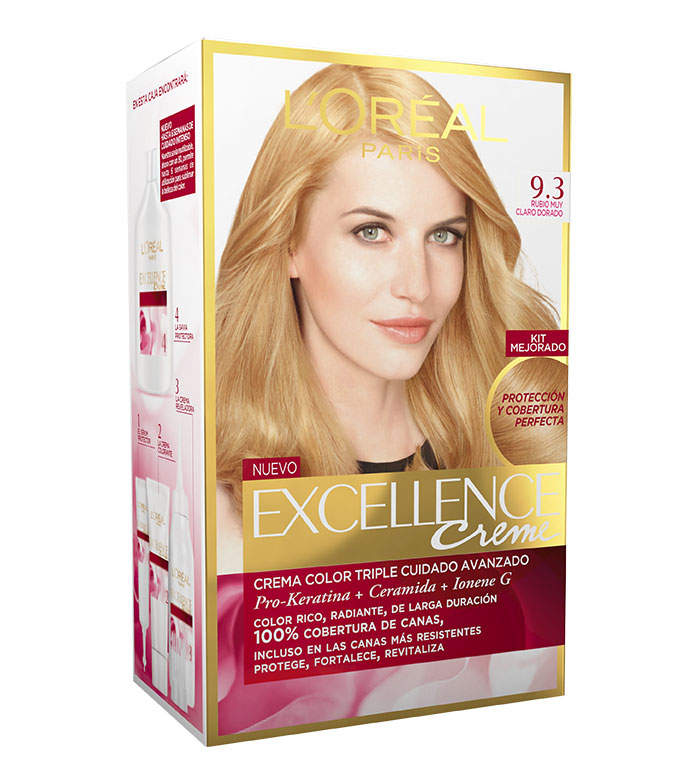 loreal paris excellence creme triple protection coloration 93 rubio muy claro dorado - Coloration Excellence