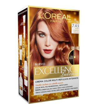 Loreal Paris - Coloración Excellence Intense - 7.43: Rubio Cobrizo Dorado