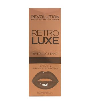 Makeup Revolution - Metallic Lip Kit Retro Luxe - Sovereign