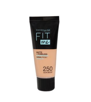 Maybelline - Base de Maquillaje Fit Me Matte + Poreless - 250: Sun Beige