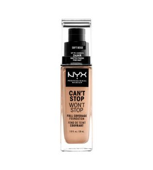 Nyx Professional Makeup - Base de maquillaje fluida Can't Stop won't Stop - CSWSF7.5: Soft beige